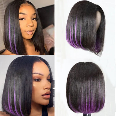 Sunber Short Bob Wig Natural Black with Hidden Purple Color PU Silk Lace Fake Scalp Wig Underlight Human Hair Wig