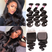 Sunber 8A Body Wave 3 bundles With 6*6 Lace Closure Preplucked Human Hair Closure With Baby Hair