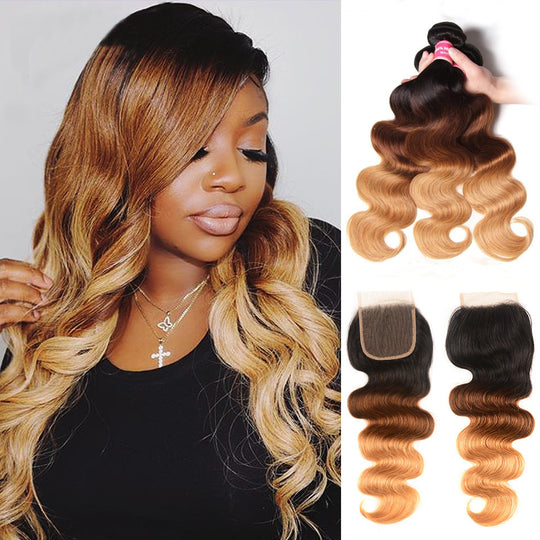 Sunber Hair Ombre Hair T1b/4/27 Color Body Wave Hair 3 Bundles with Lace Closure 100% Human Hair