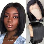 Flash Sale For 13*4 Lace Front Wigs Short Bob Human Hair Wigs 150% Density Low to $88.88