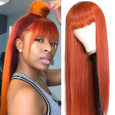 Sunber Fashion #33 Orange Color Human Hair Wig Straight Hair Wig With Bang Machine Made Virgin Human Hair Wig For Black Women