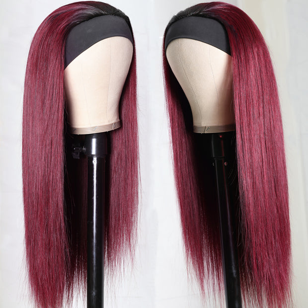 Sunber Ombre 99J Burgundy Color Straight Headband Wigs with Black Root 150% Density Glueless Human Hair Wigs