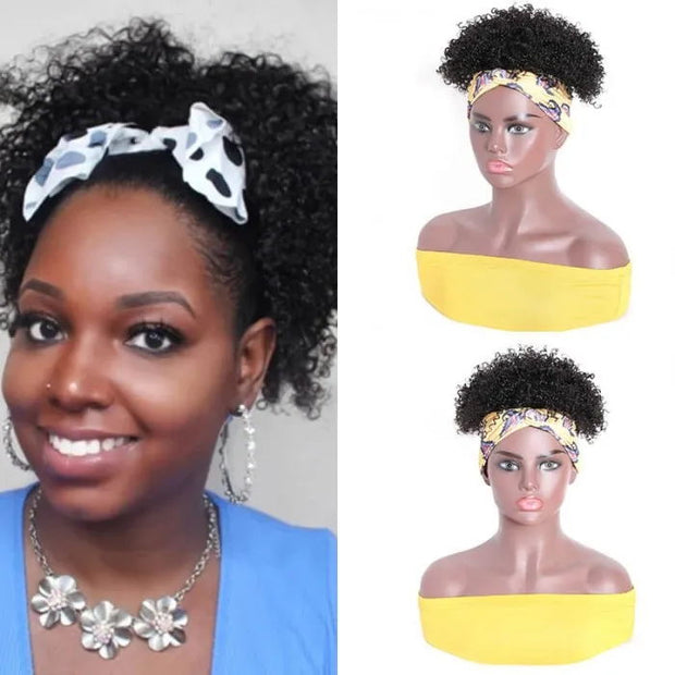 Sunber Afro Kinky Curly Short Wrap Human Hair Wigs Natural Black Puff Headband Wig Half Wig Extension Hairpiece