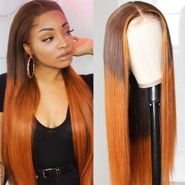 Sunber 4x4 Silk Lace Closure Wig Naturally hand tied Lace Wigs Cinnamon Ombre LT430 Colored Straight Human Hair Wigs