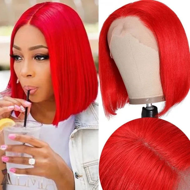 Sunber 13*4 HD Transparent Lace Front Bob Wig With Pre Plucked Hairline 150% Density Red Color Short Bob Human Hair Lace Wig