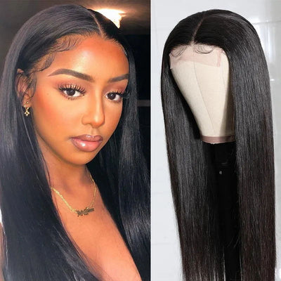 Sunber Straight Human Hair Lace Part Wig 150% Density Natural Hairline Hand Tied Lace Part Wig Pre Plucked Hairline