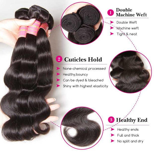 Sunber Hair Brazilian Body Wave 3 Bundles With Closure, Deals on Bundles of Brazilian Virgin Hair Weave