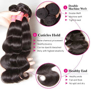 Sunber Hair Body Wave Transparent 5*5 Closure With Virgin Hair Weave 3 Bundles