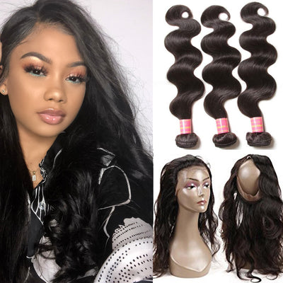 Brazilian Body Wave Hair 360 Frontal Closure with 3 Bundles Weaves, 100% Human Extension Hairs - Sunberhair
