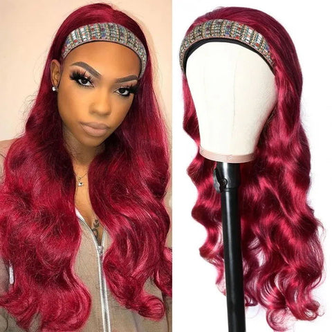 Sunber Burgundy 99J Color Headband Wig Body Wave Hair Wigs With Pre-attached Scarf Glueless None Lace Front Human Hair Wigs