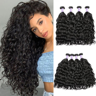 Sunber Hair Peruvian Natural Wave Remy Human Hair 4 Bundles Unprocessed Human Hair Weaves