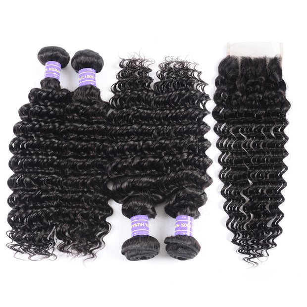 Sunber Hair Remy Series Human Hair Brazilian Deep Wave 4 Bundles with 4*4 Lace closure 100% Human Hair