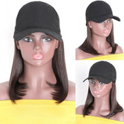 Sunber Short Straight Cap Wigs with Baseball Hat 2# Dark Brown Color 100% Virgin Glueless Human Hair Wigs 150% Density