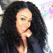 Indian Virgin Curly Hair 3 Bundles with 4*4 Lace Closure, 7A Cheap Indian Human Hair Weaves - Sunberhair