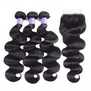 Sunber New Remy Human Hair Brazilian Body Wave 3 Bundles With Closure Deals