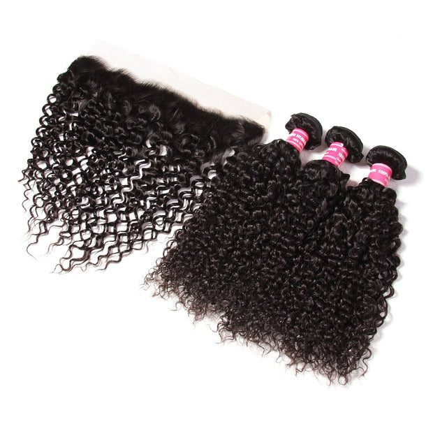 Malaysian Curly Hair 3 Bundles with 13*4 Lace Frontal, Cheap 100% Virgin Hair - Sunberhair