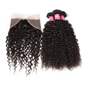 Sunber Hair Brazilian Virgin Curly Hair Lace Frontal with 4 Bundles, 100% Human Hair Extensions Wefts