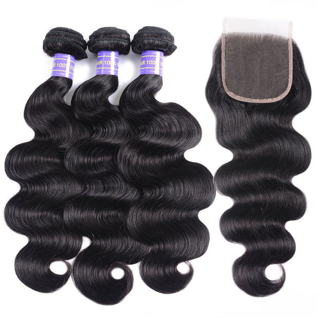 Sunber Brazilian Body Wave Affordable Remy Human Hair 3 Bundles With 4x4 Swiss Lace Closure