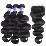 Sunber Malaysian Body Wave 3 Bundles Weaves with 4x4 Lace Closure Affordable Remy Human Hair