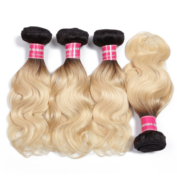 4 Bundles T1b/613 Color Ombre Body Wave 100% Virgin Human Hair Weaves