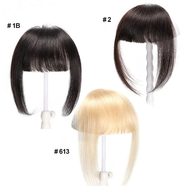 Sunber Hair Clip In Blunt Bangs with Temples One-piece Front Neat Hair Bangs Extension Front Neat Full Tied Hair Bangs in 3 Colors