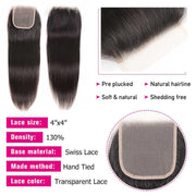 Straight Hair 4 Bundles With 4*4 Transparent Lace Closure, 100% Human Virgin Hair Bundles