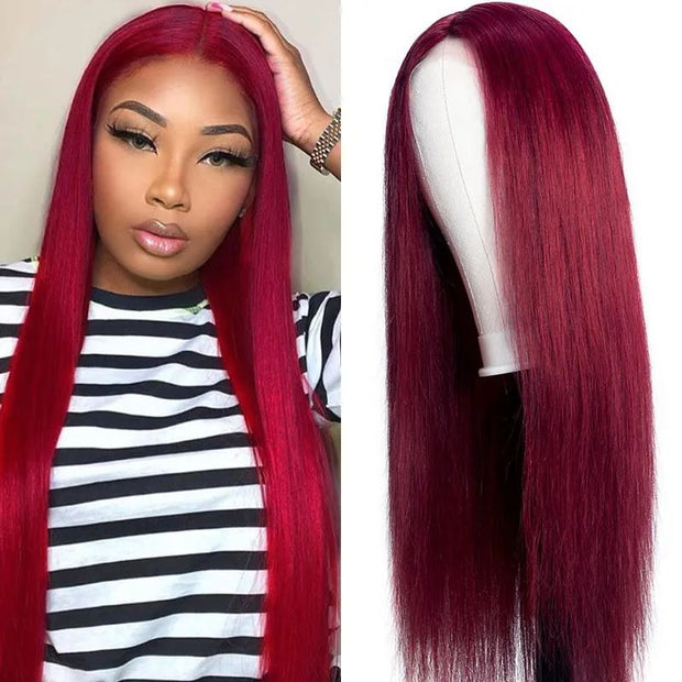 Sunber 99J Hand Tied Hair Line Lace Closure Wig Long Straight Hair Burgundy Red Lace Closure Part Human Hair Wigs 150% Density