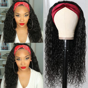 Sunber Headband Scarf Wig Water Wave Glueless Human Hair Wigs With Pre-attached Scarf Natural Color 180% Density