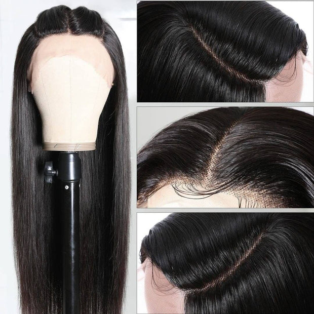 Sunber Upgrade Three Part Lace Wigs Natural Hairline Hand-Tied Double U Shape Long Straight Human Hair Wigs