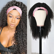 Sunber High-Quality Kinky Curly Human Hair Half Wigs Glueless Wigs with Random Gift Headband