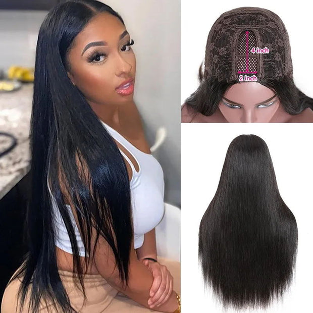 Sunber Long Straight Hair 4x2 Size U Part Wig 150% Density Glueless Human Hair Wigs Natural Black Color