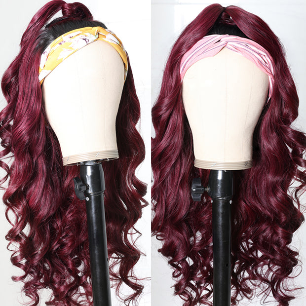 Sunber Ombre 1B99J Burgundy Color Body Wave Headband Wigs with Black Root 150% Density Glueless Human Hair Wigs
