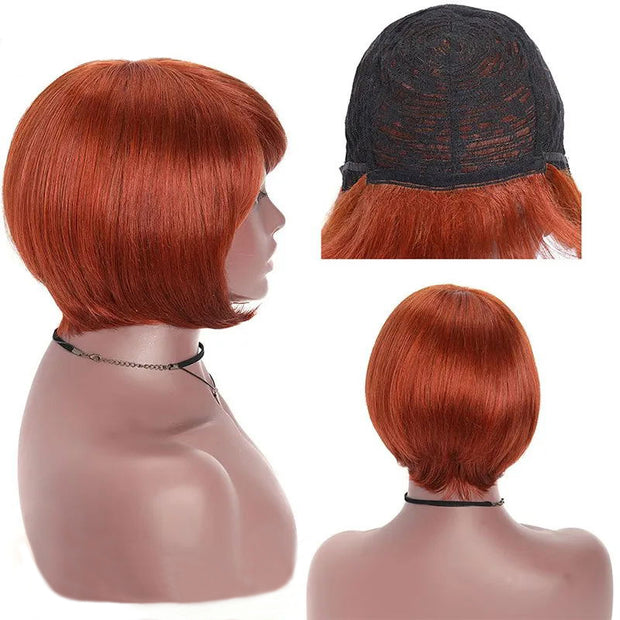 Sunber Pixie Cut Bob Wig Silky Straight Free Part Machine Made Classic Wig 150% Density Copper Red and Natural Black Color