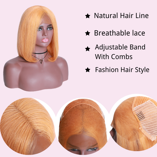 Sunber Hair Short Bob Wig 13*4 Lace Front Peach Yellow Hair Wig Preplucked For Black Women
