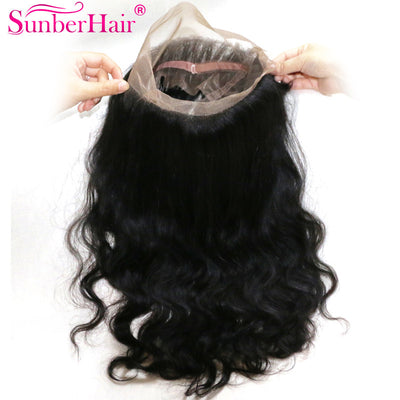 Virgin Body Wave Hairstyle 360 Lace Frontal Closure, Unprocessed Peruvian/Malaysian/Brazilian Hair - Sunberhair