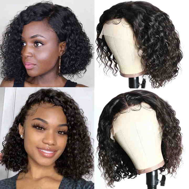 Sunber Short Bob Water Wave Human Hair Wig 360 Lace Frontal Wig Pre Plucked Baby Hair Lace Frontal Wig