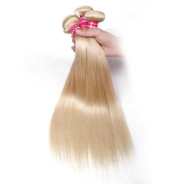 Sunber Hair Blonde 613 Hair Weave 3 Bundles Straight Hair Virgin Human Hair Weft