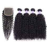 Sunber Hair New Remy Black Color Brazilian Curly Hair 4 Bundles with 4*4 Lace Closure 100% Human Hair Weaves