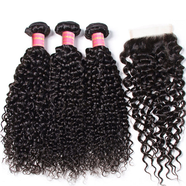 Sunber Hair Brazilian Virgin Curly Hair 3 Bundles with 4*4 Lace Closure, 8A Cheap Brazilian Human Hair Weaves