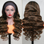 Sunber Balayage Highlight Dark Roots Body Wave Glueless Headband Wigs #1B/30 Color Wear And Go Human Hair Wigs