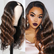 Sunber U Part Wig Black With Mix Brown Highlights Colored Body Wave Wig Human Hair 2x4 Opening Size U Part Wigs 150% Density