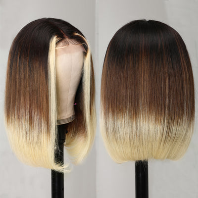 Sunber Mixed Dark Brown to Highlight Blonde 4 By 4 Hand Tied Lace Part Short BOB Human Hair Wigs Ombre T1B/4/613 Color