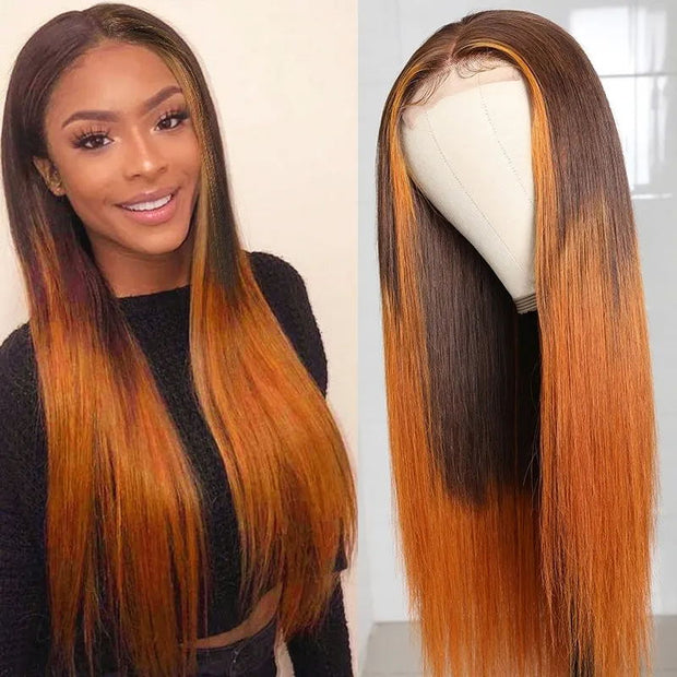 Sunber 4x4 Lace Part Wig With Baby Hair LT430 Ombre Colored Straight Hair Wigs 150% Density Hand Tied Lace Hair Mid Part