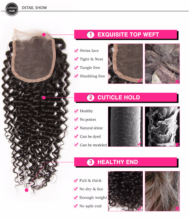 "Malaysian Virgin Curly Hair 3 Bundles with 4""*4"" Lace Closure, #1B Natural Black Color - Sunberhair"