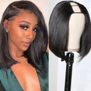 Sunber U Part Bob Wig 150% Density Short Straight 2x4 Size U Part Natural Hair Wig For Black Women Pre Plucked With Baby Hair