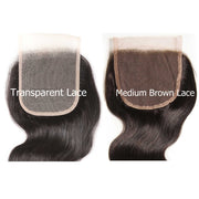 1 Bundle 4*4 Transparent Lace Closure Body Wave Free Part