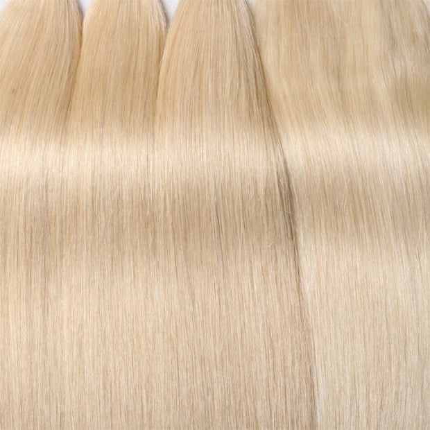Sunber Hair 3 Bundles 613 Blonde Straight Human Hair Weaves With 4X4 Lace Closure