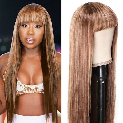Sunber TL4/12 Honey Blond Highlight Human Hair Wig With Bangs Virgin Human Hair Machine Made Wigs