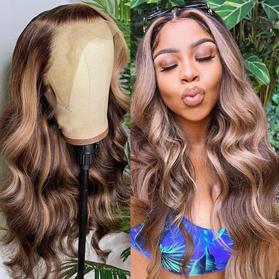 Sunber Honey Blonde Highlight Piano Color 13x4 Lace Front Wigs Body Wave Human Hair Wigs 150% Density