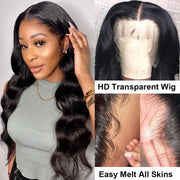 Sunber Body Wave 13x4 HD Invisible Transparent Lace Front Human Hair Wigs Pre Plucked Bleached Knots 150% Density